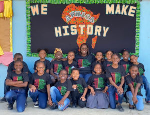 Students on St. Thomas wear their V.I. History shirts on Feb. 28. (V.I. Department of Education photo)