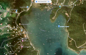 The blue marker in the harbor on the Google map shows Lime Out's new location.