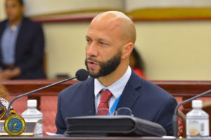 Schneider Regional Medical Center Chief Executive Officer Luis Amaro testifies before the Health, Hospitals, and Human Services Committee. (Photo by Chaunte Herbert)