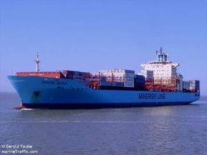 The captain of th container ship M/V/ Maersk Batam was medevaced to St. Thomas Monday. (Photo by Gerold Taube, Marinetraffic.com, supplied by U.S. Coast Guard)