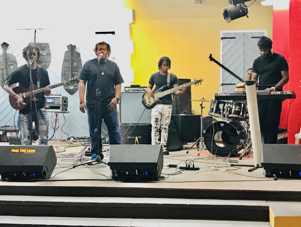 The Mind, Body and Soul Band, from left, DJante Carrington: singer/guitarist; Chandy Jeremiah, singer; Kalid Bruce, bass; Elijah Jackson, piano. (Source photo by Elisa McKay)
