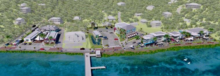 A drawing provided by Summer's End shows proposed new buildings along the harbor in Coral Bay.