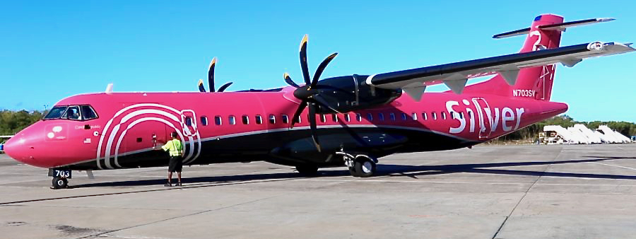 Silver Airways' inaugural ATR72 flight from Puerto Rico touched down Wednesday morning. (Source photo by James Gardner)