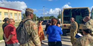 The Virgin Islands National Guard greets participants to a tour of the 210th Regional Training Institute, which might be used to support the territory's efforts against the new coronavirus and COVID19. anticipates requests from the Department of Defense for the utilization of VING federal facilities to support local COVID19 requirements. (Photo by Capt. Marcia Bruno)