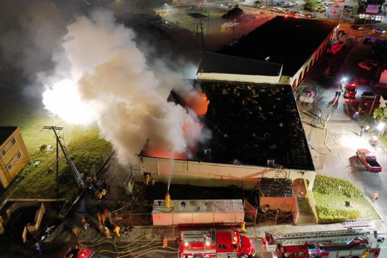 Blaze Hits Wheatley Shopping Center