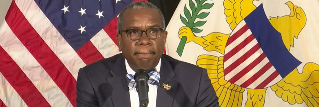 Gov. Albert Bryan takes a question during Monday's news briefing. (Government House photo)