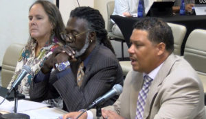 From left, Bethany Bradford, the state veterinarian for the Department of Agriculture, Agriculture Commissioner Positive Nelson, and DPNR Commissioner Jean-Pierre Oriol testify at Monday's hearing. (V.I. Legislature photo)