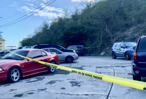 VIPD detectives and officers respond to the Bovoni Housing Community, where a shooting killed 26-year-old Bertstrand Gilkes Jr. and injured two others. (VIPD photo)