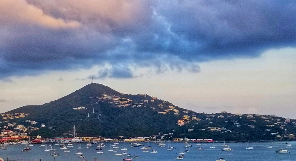 Though more vessels may be anchored than what can be counted, this photo shows 75 boats in the Charlotte Amalie Harbor. (Source photo by Bethaney Lee)
