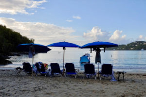 Tourists lined up for fun in the sun earlier this week, but those beach chairs sure look a lot closer than six feet apart. (Source photo by S. Pennington)
