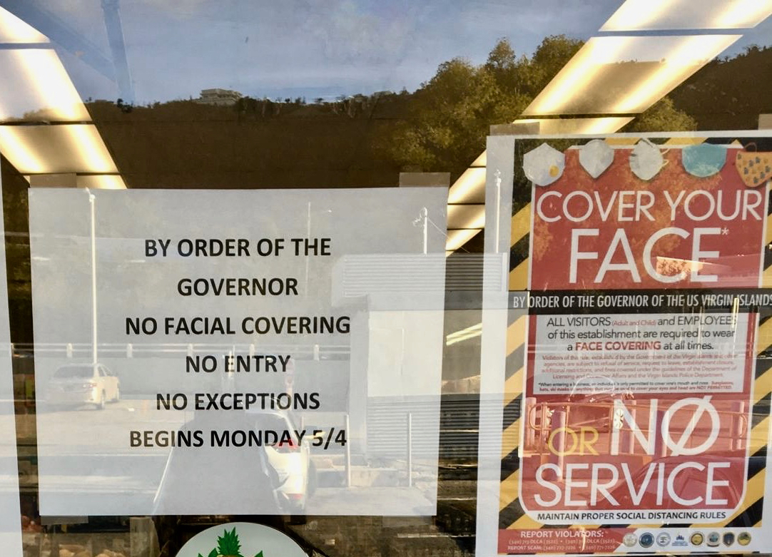 A St Thomas grocery store makes regulations clear.