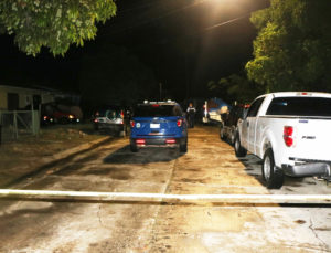 VIPD officers respond Tuesday night to Estate Mon Bijou, where a young black male with multiple gunshot wounds was found with no vital signs. (VIPD photo)