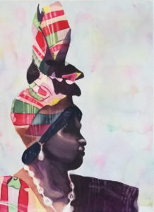 """Letisha Ayala's artwork, titled """"Lady in Madras,"""" took second place. (Image from the Virgin Islands Council of the Arts)"""