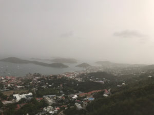 Dust darkens the skies over Charlotte Amalie. (Source photo by Kyle Murphy)