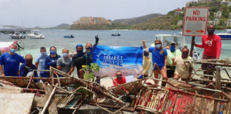 Volunteers who assisted with the cleanup effort pose for a group photo. (Photo submitted by Howard Forbes Jr.)