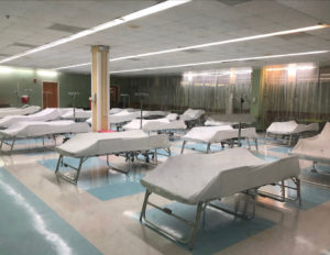 The JFL cafeteria has been converted to hold non-COVID patients if needed. (Source photo by Susan Ellis)