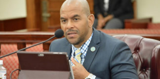 Public Works Commissioner Nelson Petty Jr. testifies during Tuesday's Committee on Finance hearing. (Photo by Barry Leerdam, V.I. Legislature)