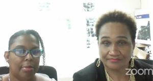 Chaneel Callwood Daniels, left, and Dionne Wells-Hedrington discuss plans during a Facebook Live town hall. Screenshot.