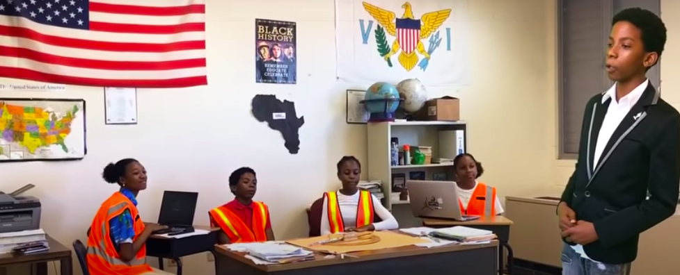 A screen shot from the Bertha C. Boschulte Middle School MATHCOUNTS video, which won a national title.