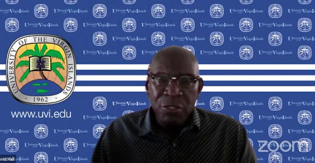UVI President, David Hall spoke Wednesday on Zoom. (Screen capture)