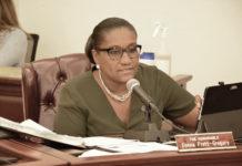 Sen. Donna Frett-Gregory tells the Senate it's time for the measure to move forward. (Photo by Barry Leerdam, U.S. Virgin Islands Legislature)
