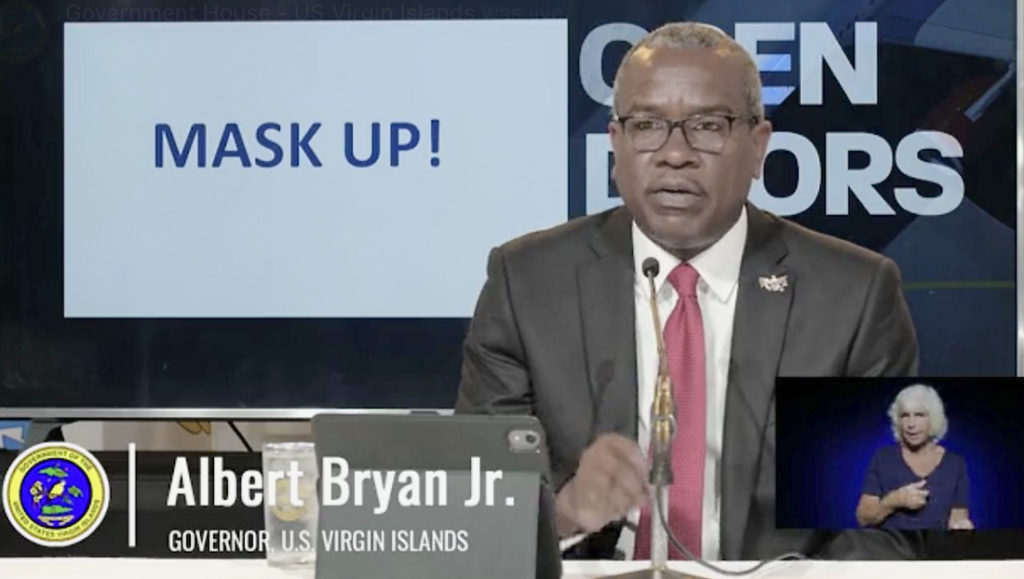 Gov. Albert Bryan, Jr. urges residents to 'mask up' to keep COVID-19 cases down in the territory. (Screen image from streamed event)