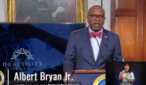 Gov. Albert Bryan Jr. announces his 'Healthier Horizons' initiative during Monday's news update.