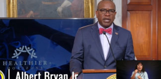 Gov. Albert Bryan Jr. announces his 'Healthier Horizons' initiative during Monday's news update.