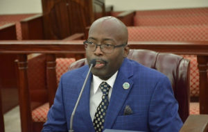 V.I. Police Commissioner Trevor Velinor testifies about the department's proposed budget at a hearing Thursday. (Photo by Barry Leerdam, USVI Legislature)