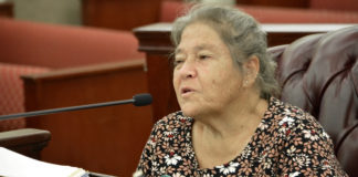 Magens Bay Authority Chairwoman Katina Coulianos testifies before the Senate Finance Committee Tuesday. (Photos by Barry Leerdam, Legislature of the Virgin Islands)