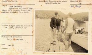 File from the National Park Service archive Jack Randall, Gladstone Matthais, Tony Chess and Loredon Boynes on the Lameshur dock in 1961.