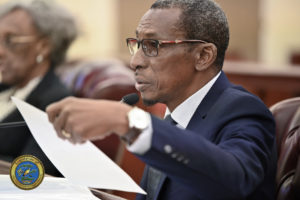 Casino Control Commission acting Chairman Usie Richards testifies before the Finance Committee meeting on Friday. (Photo by Barry Leerdam, V.I. Legislature)