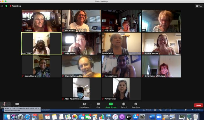 Kristen Carmichael-Bowers, top row left, teaches a carol to the Recovery Choir during a Zoom session. (Photo provided by Kristen Carmichael-Bowers)