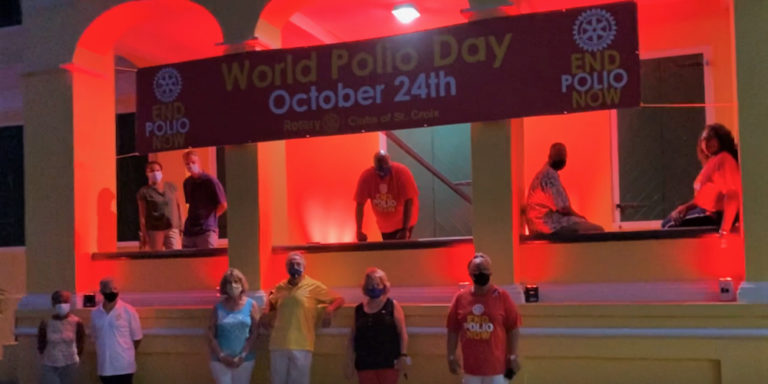 Government House Was Lit Up Saturday for World Polio Day