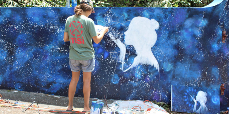 Artists Adorn Crown Mountain with Colorful Chakra Mural