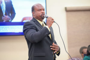 Sen. Steven Payne was wary of getting vaccinated against COVID-19 until he got sick. On Tuesday he urged Virgin Islanders to get vaccinated.(Photo by Chaunte Herbert, Legislature of the Virgin Islands)