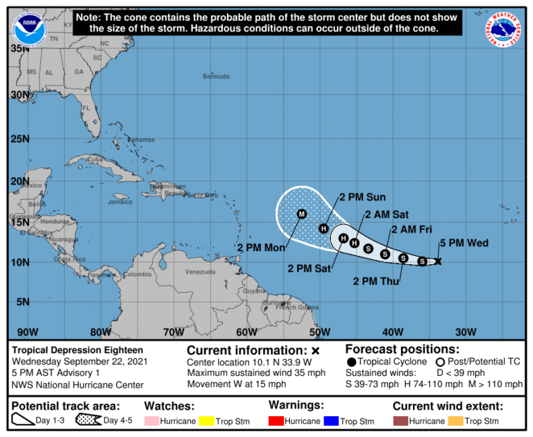 Tropical Depression Intensifying But Not Expected to Impact USVI