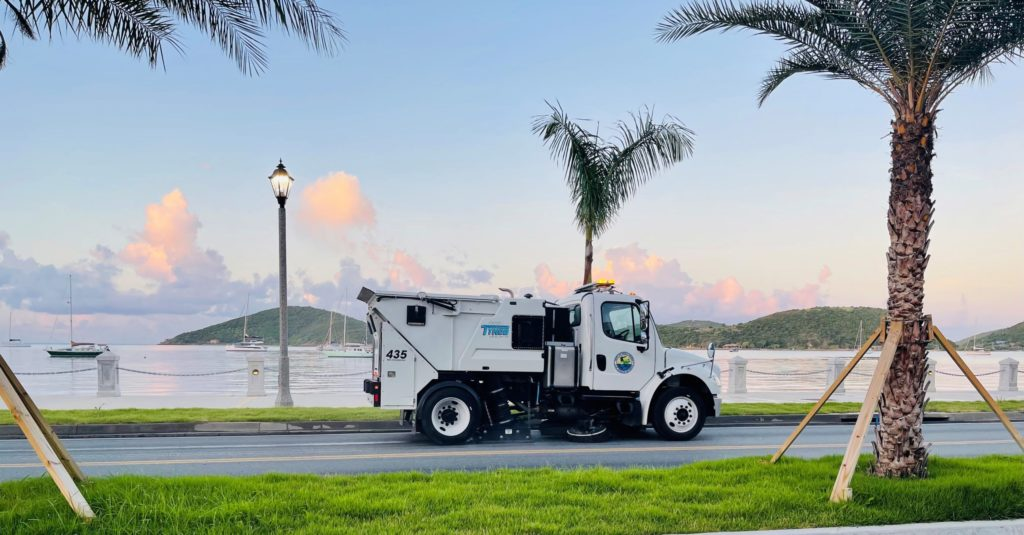 The Public Works Department's new streetsweeper makes an early morning run along Veterans Drive in Charlotte Amalie, St. Thomas. (Photo by Public Works Department)